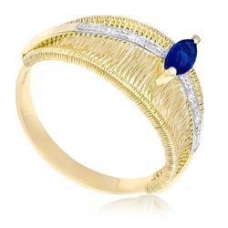 Anel Aramado com Safira Navete e 4 Diamantes em Ouro Amarelo