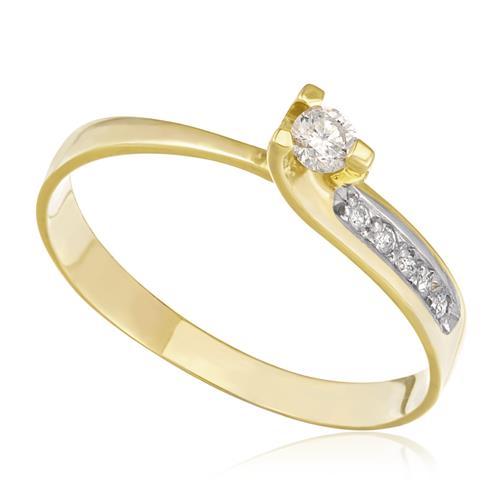 Anel com Diamante Central de 10 Pts e 5 Diamantes Laterais