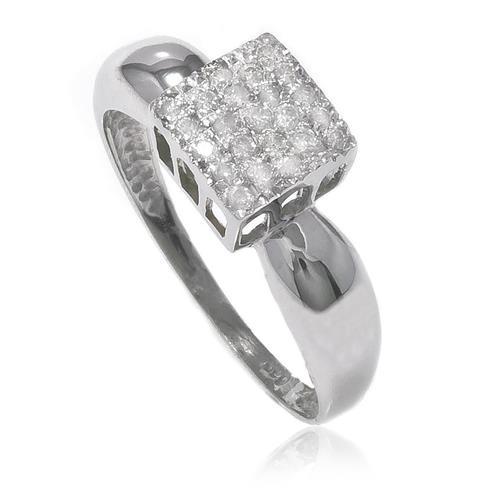 24c7827e436 Anel de Ouro Branco modelo Chuveiro com 23 Diamantes
