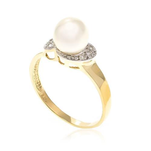 Anel com 6 Diamantes e Pérola de 8 mm¸ em Ouro Amarelo