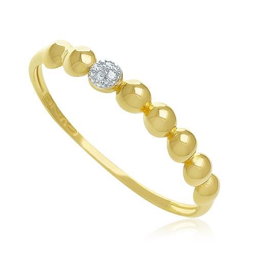 Anel Esferas com 4 Diamantes, em Ouro Amarelo