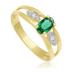 Anel com Blue Green e 2 Diamantes em ouro amarelo