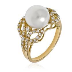 Anel Trabalhado com 56 Diamantes e Perola¸ em Ouro A.. 9791d3499b