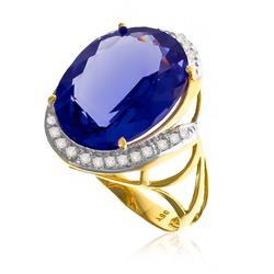 Anel com Cristal de Tanzanita Oval de 9¸5 Cts e 10 Diamantes em Ouro Amarelo