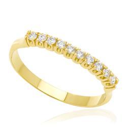 Meia Aliança com 20 Pontos de  Diamantes, em Ouro Amarelo