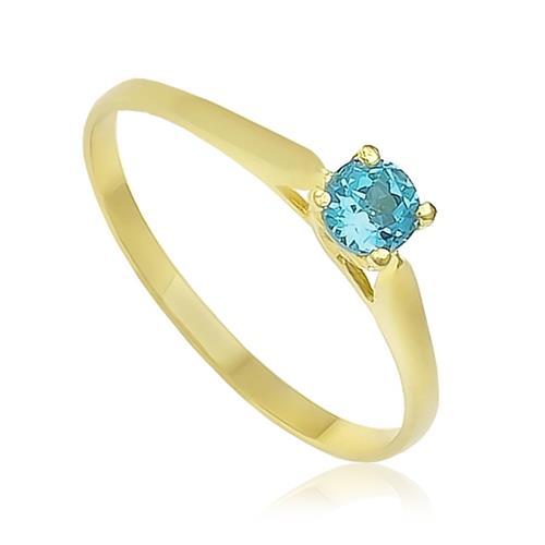 Anel Solitário de Ouro com Topázio Azul   Joias Vip bf07b7b4dd