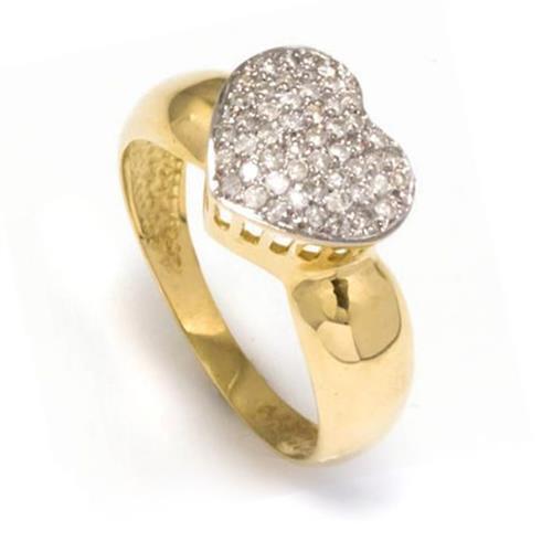 Anel Coração com 51 Diamantes¸ em Ouro Amarelo