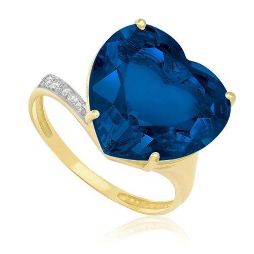 Anel Coração com Topázio Azul e 3 Diamantes, em Ouro Amarelo