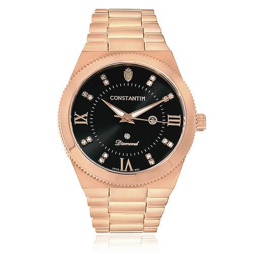 d44ccf36c23 Relógio Feminino Constantim Diamond Rose Black Analógico 6651-RB Aço Rose