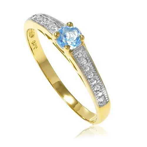 Anel Solitário com 8 Diamantes e Topázio Azul Central, em Ouro Amarelo