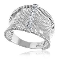 Anel Aramado com 7 Diamantes, em Ouro Branco