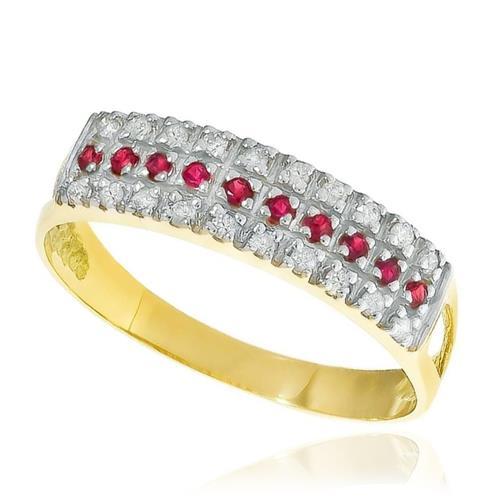 7f2f888dbfefd Meia Aliança Tripla com Diamantes e Rubi em Ouro Amarelo