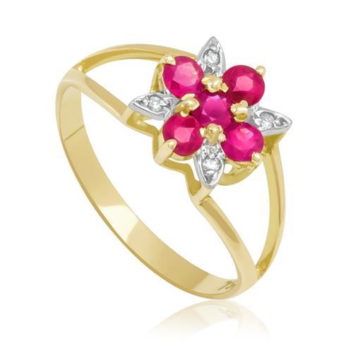Anel Chuveiro com 5 Rubis e 4 Diamantes