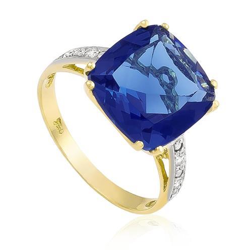 Anel com 8 Diamantes e Cristal de Tanzanita¸ em Ouro Amarelo