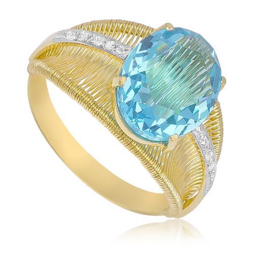 Anel Aramado com Topázio Sky Blue e 4 Diamantes em Ouro Amarelo