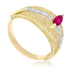 Anel Aramado com Rubi Navete e 4 Diamantes em Ouro Amarelo
