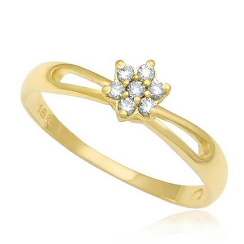 Anel de Ouro modelo Flor com 7 Diamantes totalizando 12 Pts