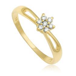 Anel Flor com 7 Diamantes totalizando 12 Pts, em Ouro Amarelo