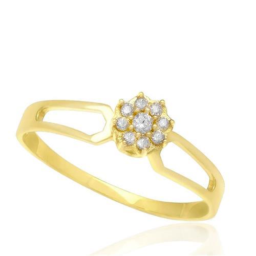 Anel Chuveiro com 9 Diamantes, em Ouro Amarelo