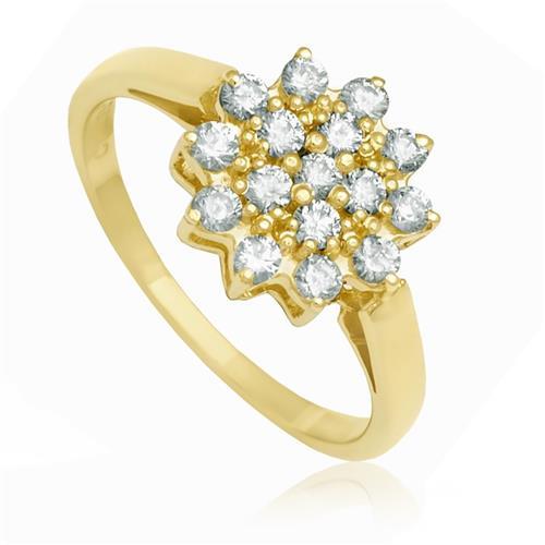 Anel Flor com 16 Diamantes totalizando 64 Pts, em Ouro Amarelo
