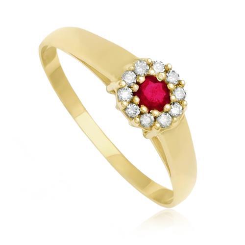 Anel Com Diamantes e Rubi Central, em Ouro Amarelo