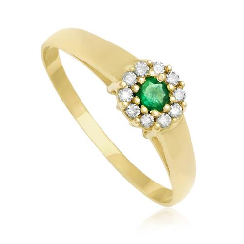 Anel com 10 Diamantes e Esmeralda em Ouro Amarelo