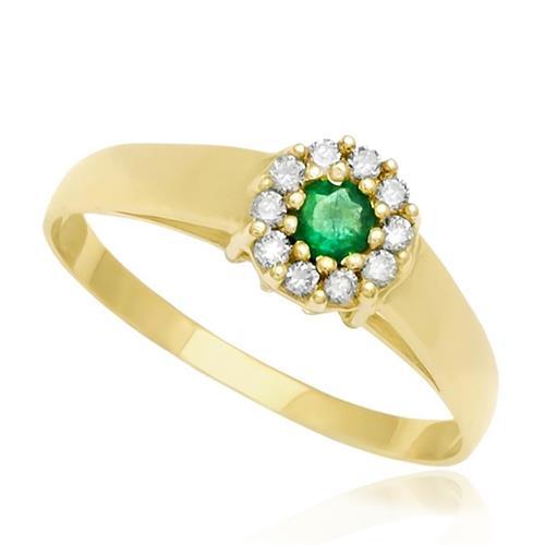 Anel de Ouro com 10 Diamantes e Esmeralda
