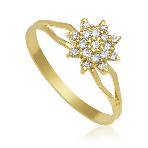 Anel Chuveiro com Diamantes totalizando 24 Pts¸ em Ouro Amarelo