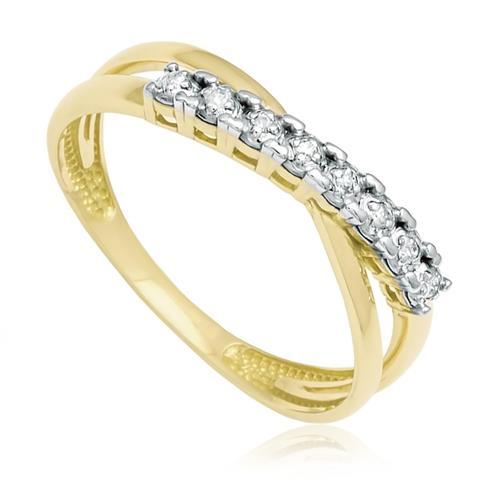 Meia Aliança com 8 Diamantes em Ouro Amarelo