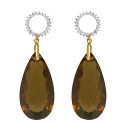 Par de Brincos com 46 Diamantes e Quartzo Fume¸ em Ouro Amarelo