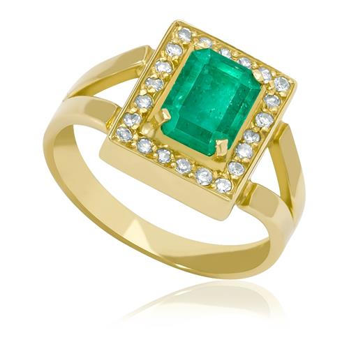 48e308a6e257a Anel com Esmeralda Retangular de 1¸55 Cts e Diamantes¸ em Ouro Amarelo
