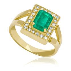 a8857db1edf Anel com Esmeralda Retangular de 1¸55 Cts e Diamante.