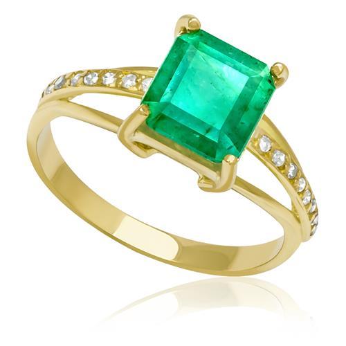 d2b8fca1ea573 Anel com Esmeralda Quadrada de 1¸8 Ct e Diamantes¸ em Ouro Amarelo
