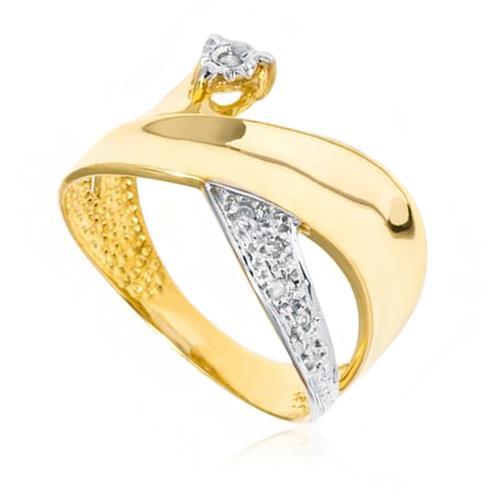 Anel Trabalhado com 6 Diamantes, em Ouro Amarelo com Detalhes em Ródio