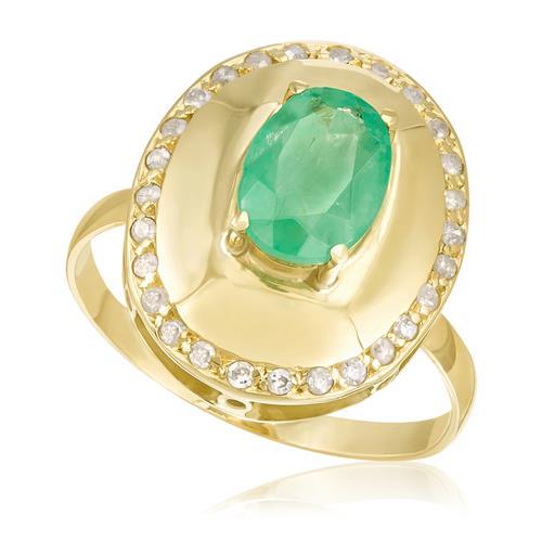 Anel com Oval com Esmeralda no centro e Diamantes, em Ouro Amarelo