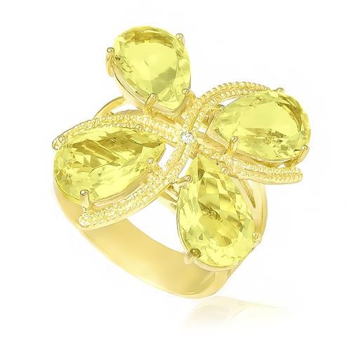 Anel com 1 Zircônia e 4 Quartzos Green Gold, Acabamento Polido