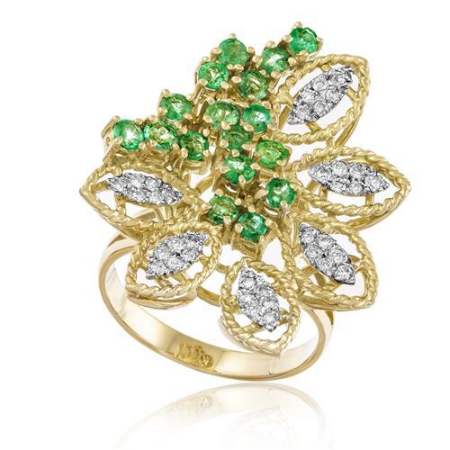 Anel Flor com Esmeraldas e 36 Diamantes, em Ouro Amarelo