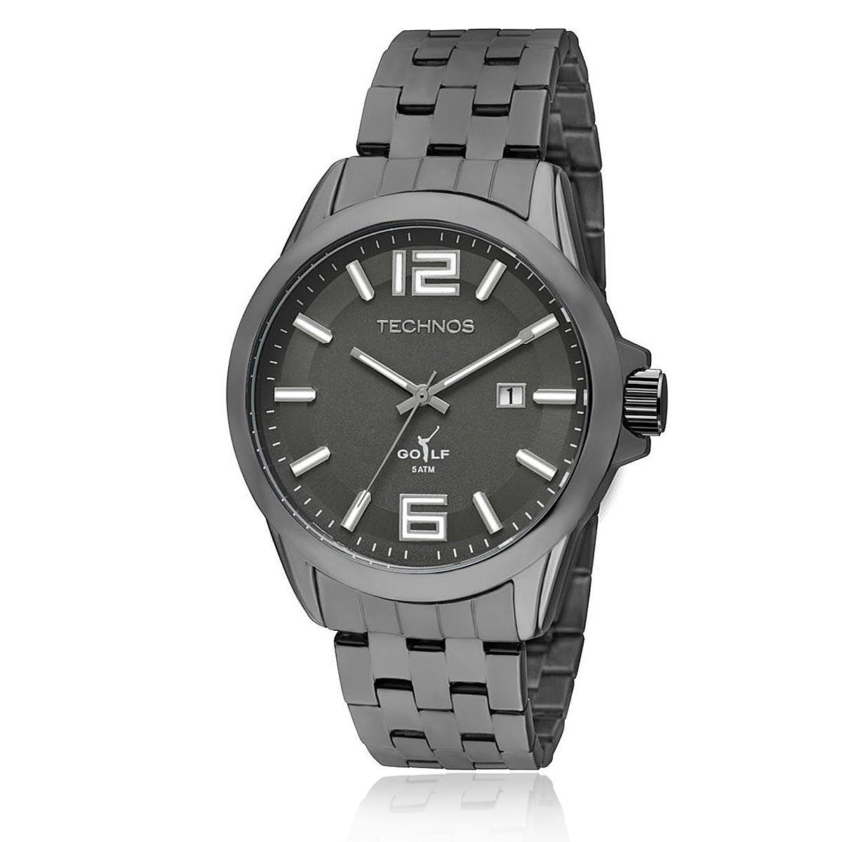 ec0330f6ff8 Relógio Masculino Technos Classic Golf Analógico 2115KOL 4P Aço preto com  calendário