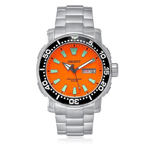 6325412bea4 Relógio Masculino Orient Automatic Analógico 469SS040 O1SX Fundo Laranja