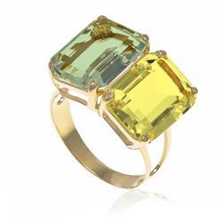 Anel Casadinho com Green Gold e Prasiolita, em Ouro Amarelo