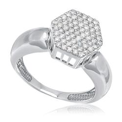 Anel Chuveiro com 61 Diamantes, em Ouro Branco