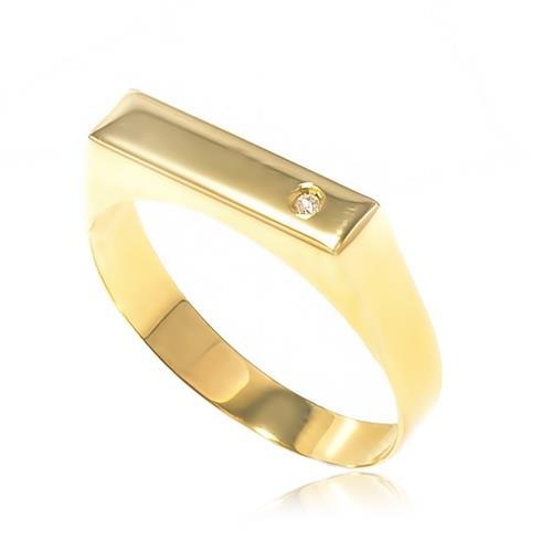 Anel chapinha com 1 Diamante¸ em ouro amarelo