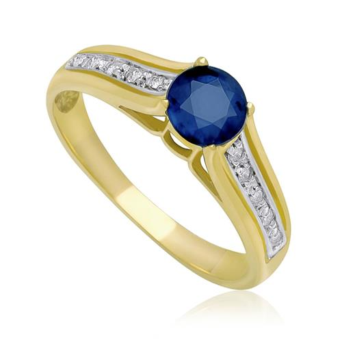 Anel Solitário com Safira e Diamantes, em Ouro Amarelo