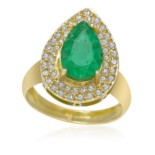 Anel com Esmeralda e Diamantes totalizando 50 Pts¸ em Ouro Amarelo