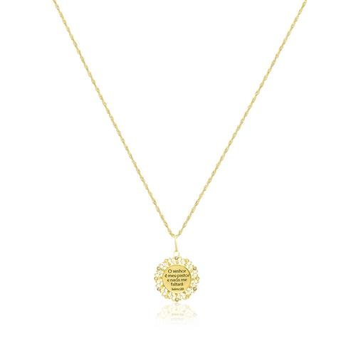 Corrente com Pingente Religioso com Diamantes, em Ouro Amarelo