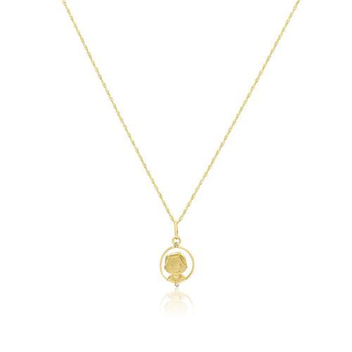 Corrente com Pingente Menino com Diamantes, em Ouro Amarelo