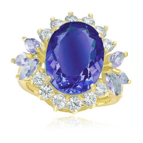 Anel Oval com Cristal de Tanzanita central e Zircônias