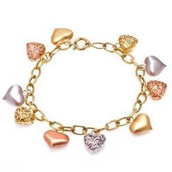 Pulseira Berloqueira Coração em Ouro Três Cores