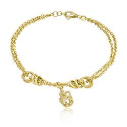 Pulseira Dupla com Berloque Coroa, em Ouro Amarelo