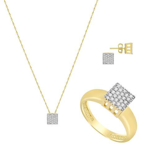 Conjunto ChuveiroAnel, Brinco e Pingente totalizando 92 Diamantes